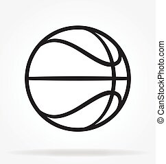 basketball outline simple line drawing vector