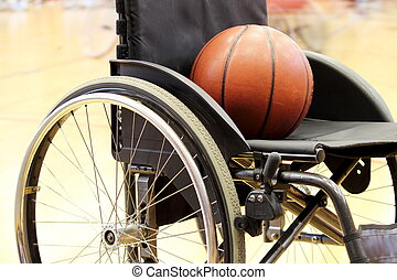 basketball, på, en, basketball wheelchair, boldspil