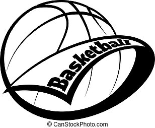 Basketball Pennant with Text - Stylized basketball with a...
