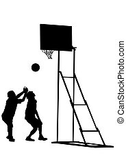 Basketball people on white