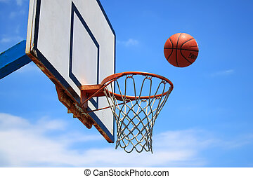 Basketball - Photo of basketball hoop and blue sky in ...