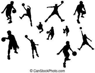 Basketball player - A silhouette isolated shot of a...