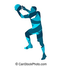 Basketball player. Abstract blue vector silhouette