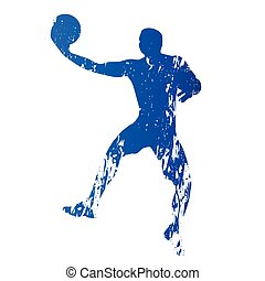 Basketball player, abstract grungy vector silhouette