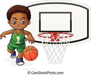 Basketball player bouncing the ball