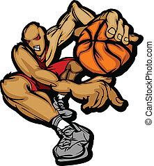Basketball Player Cartoon Dribbling - Cartoon Vector Image...