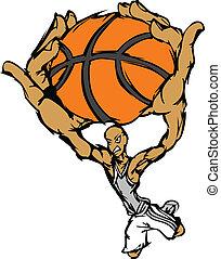 Basketball Player Cartoon Dunking B - Cartoon Vector Image...