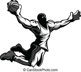 Basketball Player Cartoon Dunking - Cartoon Vector Image of...