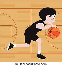 basketball player cartoon vector illustration