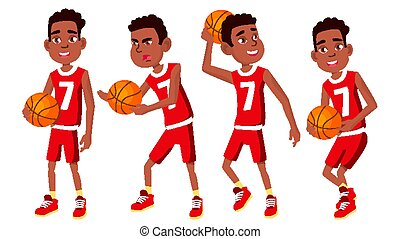 Basketball Player Child Set Vector. Different Poses. Leads The Ball. Sport Game Competition. Sport. Isolated Flat Cartoon Illustration