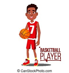 Basketball Player Child Vector. Afro American, Black. Athlete In Uniform With Ball. Healthy Lifestyle. Isolated Cartoon Illustration