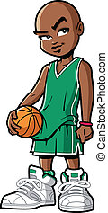 Cool and confident black african american basketball player with attitude and big sneakers