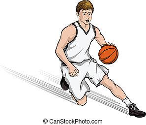 Basketball Player Cutting to Basket