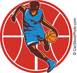 Basketball Player Dribble Ball Front Retro
