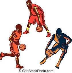 Basketball Player Dribble Woodcut Collection