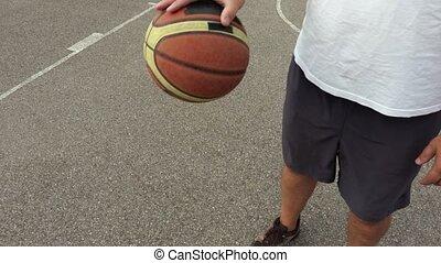 Basketball player dribbles the ball