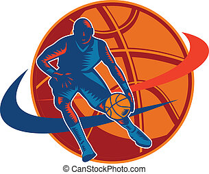 Basketball Player Dribbling Ball Woodcut Retro -...