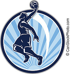 Basketball Player Dunk Ball Retro - Illustration of a...
