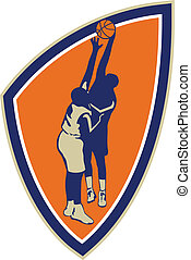 Basketball Player Dunk Block Ball Shield Retro