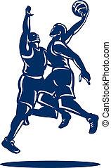 Basketball Player Dunk Block Retro - Illustration of...