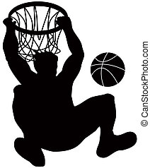 Basketball Player Dunking Ball - Illustration of a...