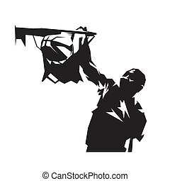 Basketball player dunking ball, isolated vector silhouette