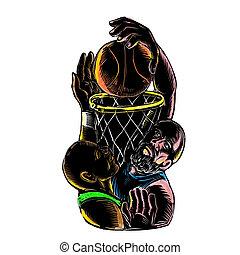 Basketball Player Dunking Blocking Ball Tattoo