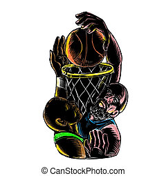Basketball Player Dunking Blocking Ball Tattoo