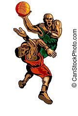 Basketball Player Dunking Blocking