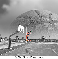 basketball player dunking by the sea