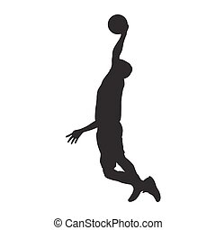 Basketball player dunking, isolated vector silhouette