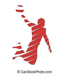 Basketball player dunks
