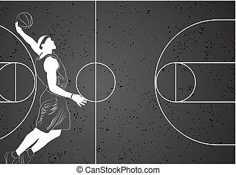 Basketball player - Vector basketball player on gray...