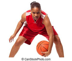 Basketball Player - Female basketball player. Studio shot ...