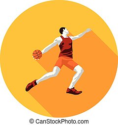 basketball player flat icon with ball