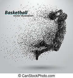 Basketball player from particles. Background and text on a...