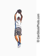 Basketball player front view on white