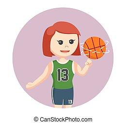 basketball player girl spinning ball