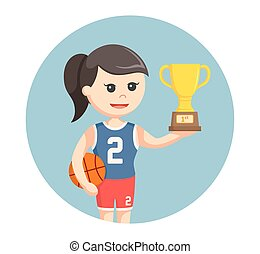 basketball player girl with trophy in circle background