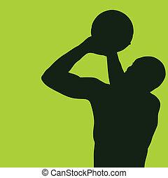 basketball player green vector illustration