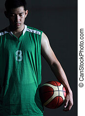 Basketball player hold the ball