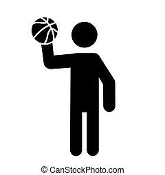 Basketball Player Holding A Basketball Icon Vector