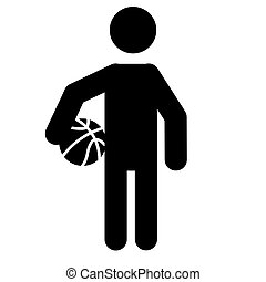 Basketball Player Holding Ball Icon Vector