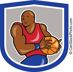 Basketball Player Holding Ball Shield Cartoon