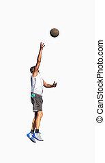 Basketball player hook shot on white
