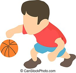 Basketball player icon, isometric 3d style