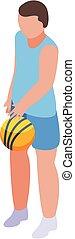 Basketball player icon, isometric style