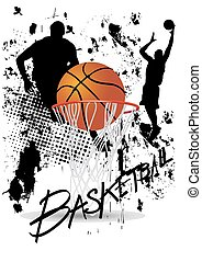 basketball player in act on white grunge background