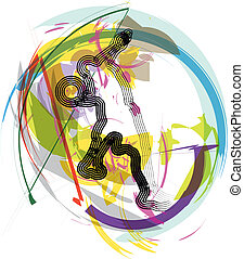 Basketball player in action. Vector