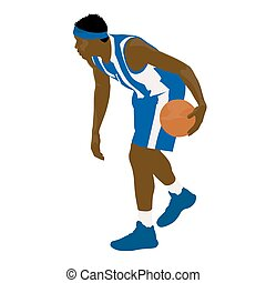 Basketball player in blue jersey, vector illustration
